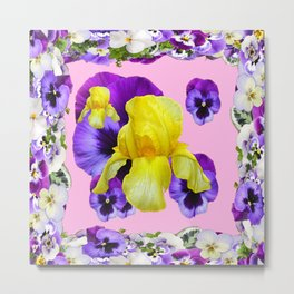 PINK COLOR PURPLE & WHITE PANSIES YELLOW IRIS Metal Print
