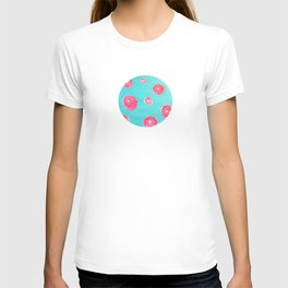 Pink flowers in blue T-shirt
