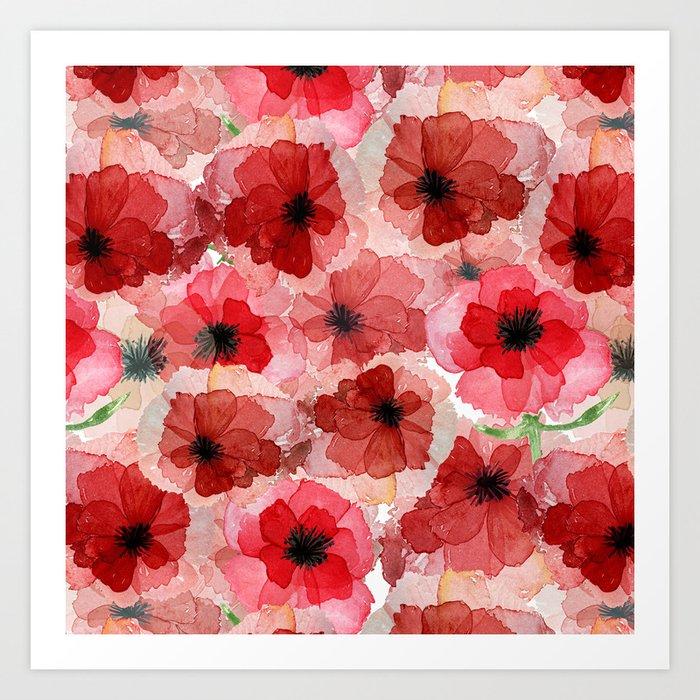 Pressed Poppy Blossom Pattern Kunstdrucke