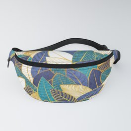 Leaf wall // navy blue royal blue and teal leaves golden lines Fanny Pack