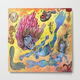 Blue-Finned Mermaids watercolor Metal Print
