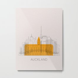 Auckland Landmarks Poster Metal Print
