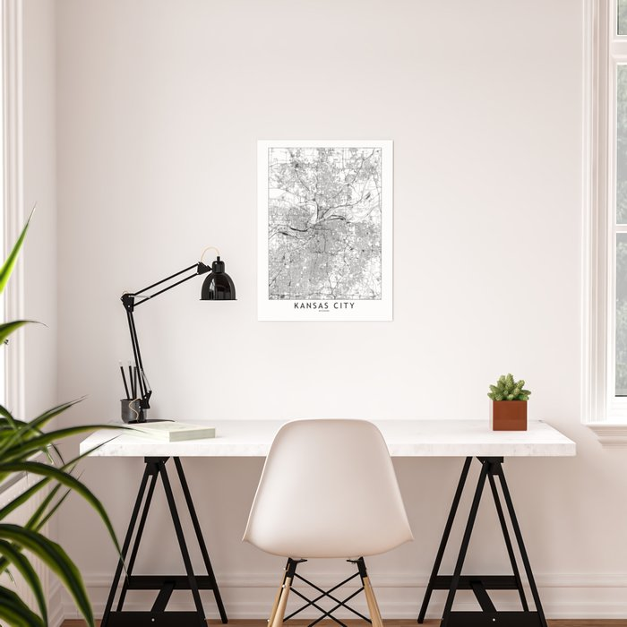 Kansas City White Map Poster
