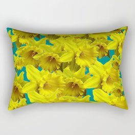 YELLOW SPRING DAFFODILS ON TEAL COLOR ART Rectangular Pillow