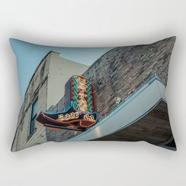 Boot Shop Neon Sign Rectangular Pillow