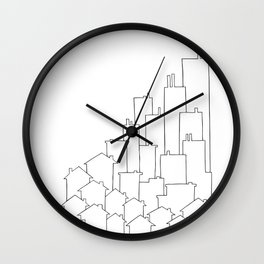 Black and White City Art - Line Drawing Wall Clock