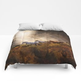 Horses in a Golden Meadow by Georgia M Baker Comforters