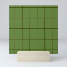 Tartan minimal green pattern warm Mini Art Print