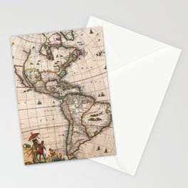 1658 Map of North America and South America (with 2015 enhancements) Stationery Cards