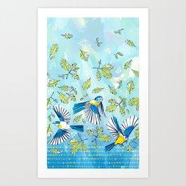 Flying Birds and Oak Leaves Border Art Print