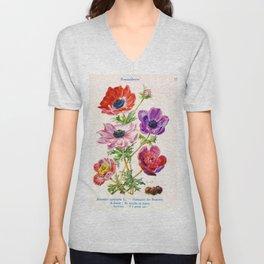 J Eudes - Anemone coronaria - vintage botanical print Unisex V-Neck
