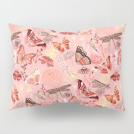 Dragonflies, Butterflies and Moths With Plants on Flamingo Pink Pillow Sham
