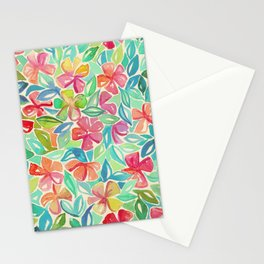Tropical Floral Watercolor Painting Stationery Cards