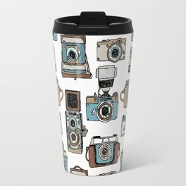 Hand drawn seamless pattern of old fashioned photo camera Travel Mug