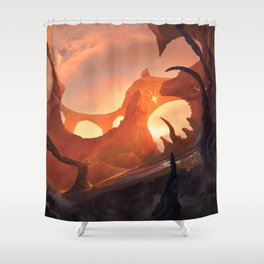 Red Landscape Shower Curtain