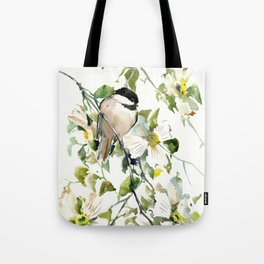 chickadee and dogwood Tote Bag