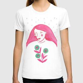 Woman Portrait, Rain and flowers T-shirt
