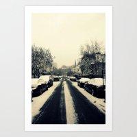 Streets of Wintry Art Print