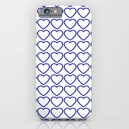 Strict sparkling pattern of blue hearts on a light background. iPhone Case