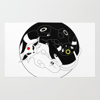 ying yang Area & Throw Rugs featuring Ying & Yang by Kurew Kreations