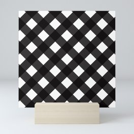 Contemporary Black & White Tilt Gingham Pattern - Mix & Match With Simplicty Of Life Mini Art Print