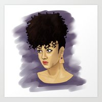 afro Art Prints featuring Afro by Adelys
