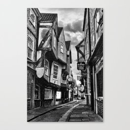 York Shambles Black & White Canvas Print