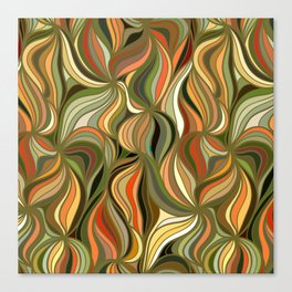 Boho Green & Red Wave Pattern Canvas Print