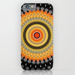 Black White Orange Mandala iPhone Case