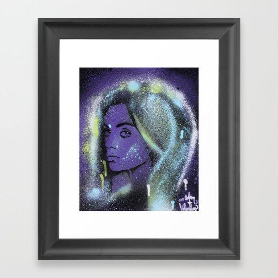 Mila Kunis Stencil Portrait Spray Paint Art Framed Art Print