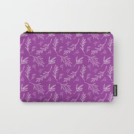 Bold Purple Botanical Print Carry-All Pouch