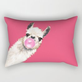 Bubble Gum Sneaky Llama in Red Rectangular Pillow