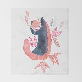 Red panda joy watercolor Throw Blanket