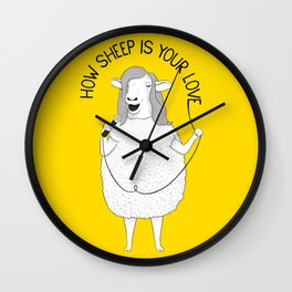 Sheep singing Bee Gees | Animal Karaoke | Illustration Wall Clock