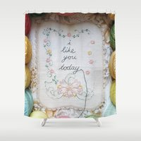 i like you Shower Curtains featuring i like you today by dottie angel