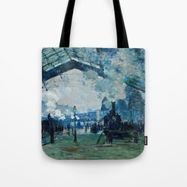 Claude Monet - Arrival Of The Normandy Train, Gare Saint Lazare Tote Bag