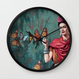 Frida Kahlo Butterfly Wall Clock