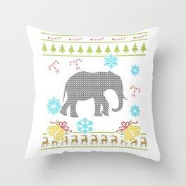 Elephant Christmas Ugly Shirt Sweater Ugly Design Throw Pillow