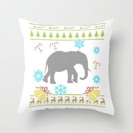 Elephant Christmas Ugly Shirt Sweater Ugly Design Throw Pillow