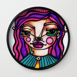JennyMannoArt Colored Illusration/Peaches Wall Clock