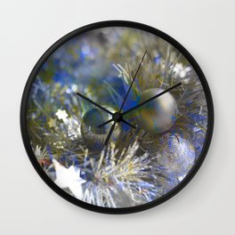 Christmas tinsel and baubles in silver tones Wall Clock