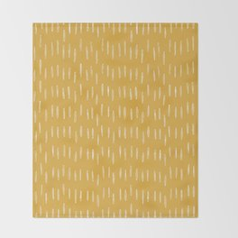 Raindrop Abstract Boho Pattern, Yellow Throw Blanket