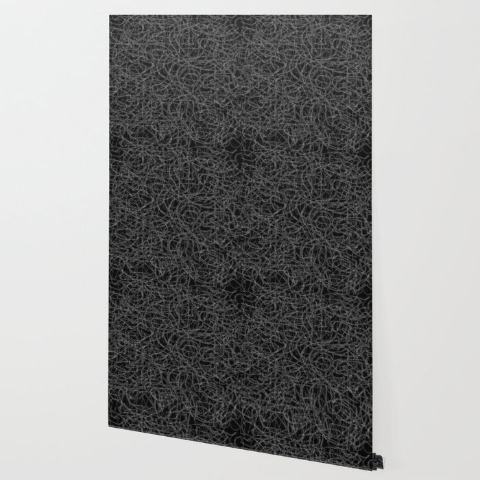 Black and white scribbled lines pattern Wallpaper