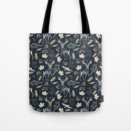 Deer and birds. Dark pattern Tote Bag