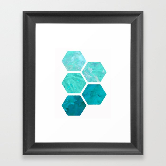 Blue polygon Framed Art Print