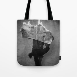 News on Fire (Baclk and White) Tote Bag
