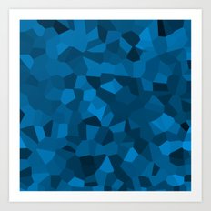 Blue Pixelated Geometric Pattern Art Print
