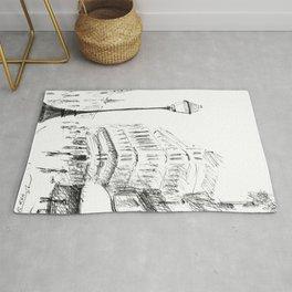 Sketch of a Street in Paris Rug