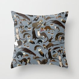 Otters of the World pattern in grey Throw Pillow