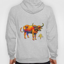 Chinese Zodiac Year of the Ox Colorful Bull Hoody